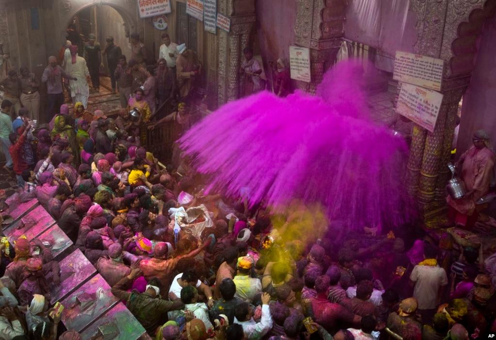 인도 브린바란에 있는 반케 비하리 사원에서 진행된 '홀리' 힌두교 축제에서 성직자들이 신도들에게 색가루를 뿌리고 있다. 인도에서 가장 오래된 축제 중 하나인 홀리는 매년 3월께 수확을 끝내고 봄이 오는 것을 기념하기 위한 행사로, 물감과 색가루를 사방에 뿌리는 풍습이 이어지고 있다.