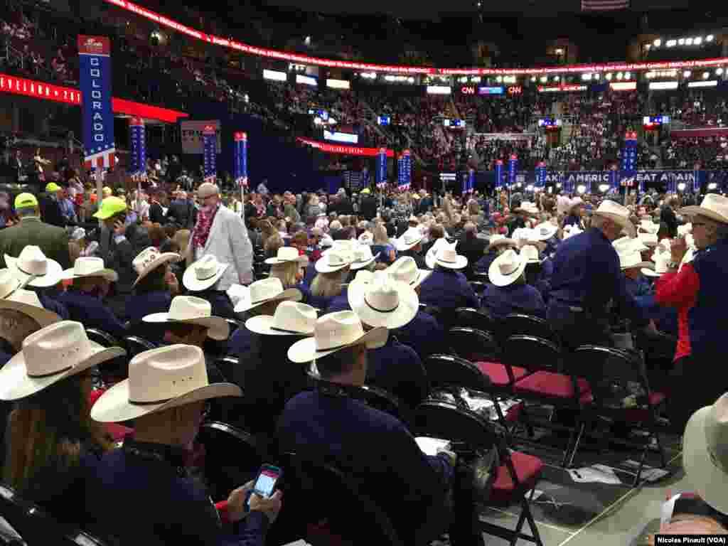 Les délégués républicains du Texas dans la Quicken Loans Arena, Cleveland, le 18 juillet 2016 (VOA/Nicolas Pinault)