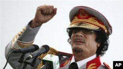 Libyan leader Moammar Gadhafi talks during a ceremony to mark the 40th anniversary of the evacuation of the American military bases in the country, in Tripoli, June 12, 2010