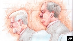 An artist's sketch shows former Massey Energy CEO Don Blankenship (R) and his attorney Bill Taylor as they listen to the verdict in his trial at Federal court in Charleston, West Virginia, Dec. 3, 2015.