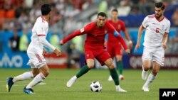 Cristiano Ronald lors du match contre l'Iran en Russie, le 25 juin 2018.