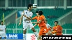 خیبر امانی که با دو گول زیبا با ضربۀ سر، پیروزی افغانستان علیه بوتان را یقینی ساخت.