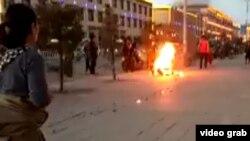 Tashi Rabten's fatal self-immolation is seen in Machu, Dec. 8, 2016.