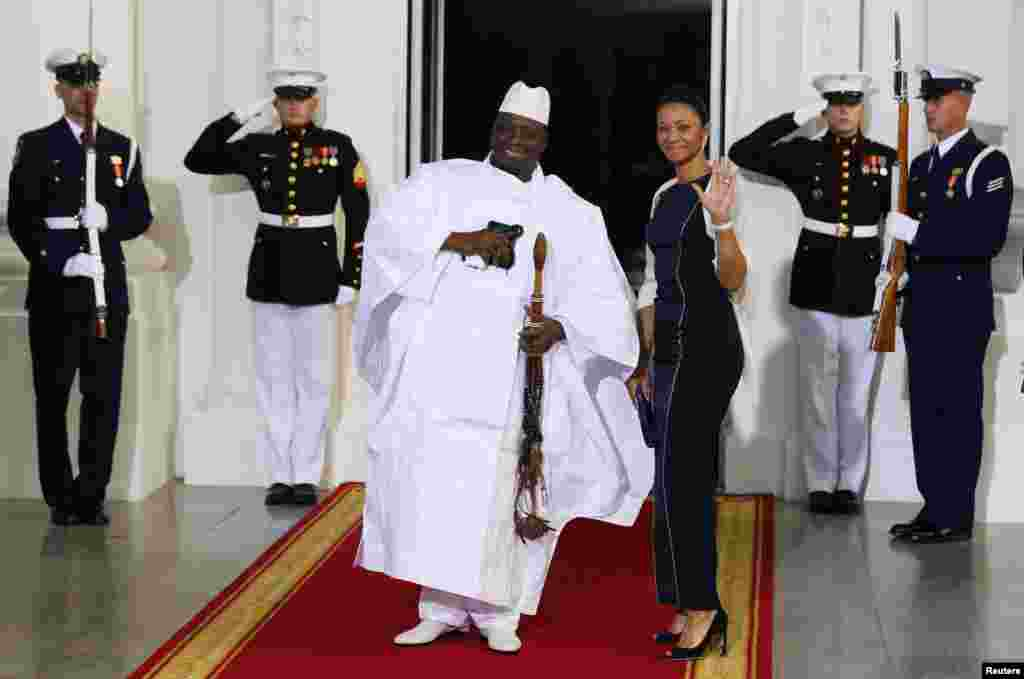 Gambia President Yahya Jammeh and his wife, Zineb Jammeh, arrive for the official U.S.- Africa Leaders Summit dinner hosted by U.S. President Barack Obama, at the White House, in Washington, DC,  Aug. 5, 2014.