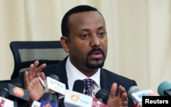 Ethiopian Prime Minister Abiy Ahmed addresses a news conference in his office in Addis Ababa, Ethiopia, Aug. 25, 2018.