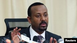 FILE - Ethiopian Prime Minister Abiy Ahmed addresses a news conference in his office in Addis Ababa, Ethiopia, Aug. 25, 2018.
