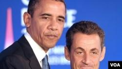 """El presidente Sarkozy destacó que junto al presidente Obama """"tenemos una agenda muy pesada que desarrollar""""."""