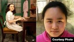 安妮.弗兰克的蜡像2012年3月9日在柏林的杜莎夫人蜡像馆展出(左);张安妮(右)