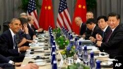 美國總統奧巴馬和中國國家主席習近平在核安全峰會上。