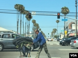 A man pushes a cart in the beach community of Venice in Los Angeles, June 2017. (E. Lee/VOA)