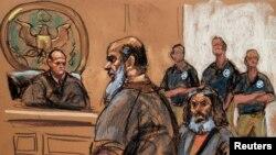 Bức phác hoạ phiên toà xử bị can Khalid al-Fawwaz ở New York