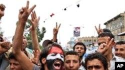 也門部落人員推進到首都