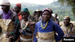 People from the Sengwer community protest their eviction from their ancestral lands, Embobut Forest, by the government in western Kenya, April 19, 2016.