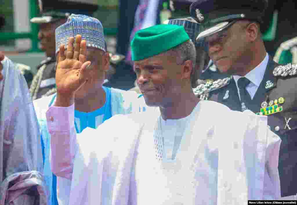 Mataimakin Shugaban Kasar Najeriya Yemi Osinbajo a Filin Eagle Square dake Abuja, Ranar Litinin 1 daga Watan Oktoba shekarar 2018.