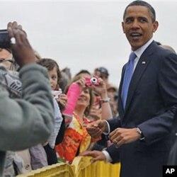 O presidente Barack Obama à sua chegada a Memphis