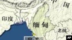 緬甸的地理位置