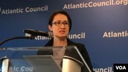 台湾立法委员萧美琴2019年4月8日在美国大西洋理事会演讲 (美国之音锺辰芳拍摄)