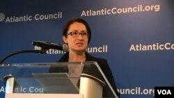 台灣立法委員蕭美琴2019年4月8日在美國大西洋理事會演講。(美國之音鍾辰芳拍攝)