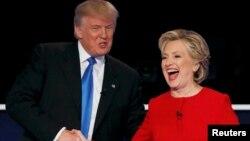 美國當選總統唐納德川普(左)與希拉里克林頓(右)。