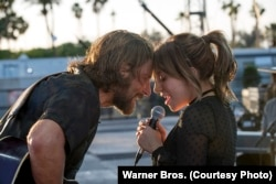 "A scene from ""A Star is Born"" with Bradley Cooper and Lady Gaga Description: A scene from ""A Star is Born,"" with Bradley Cooper and Lady Gaga"