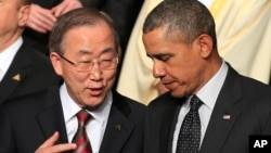 Барак Обама и Генеральный секретарь ООН Пан Ги Мун