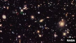 Hubble Space Telescope picture of primitive galaxies