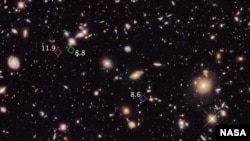 A Hubble Space Telescope picture of primitive galaxies.