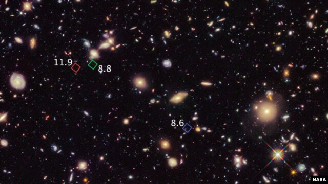 Teleskop Antariksa Hubble mengambil gambar galaksi-galaksi tertua atau primitif. (Foto: NASA)