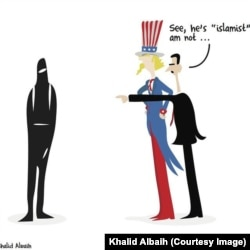 Syrian President Bashar al-Assad is shown in this cartoon by Sudanese artist Khalid Albaih trying to convince the United States that he is not an Islamist.