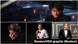 Foto para pemengang penghargaan Oscar, Rene Zelwegger, Brad Pitt, Bong Joon Ho, dan Joaquin Phoenix
