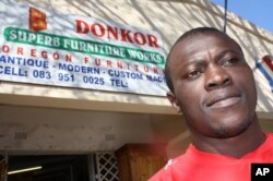 Donkor, outside one of his furniture shops in the Johannesburg suburb of Newlands