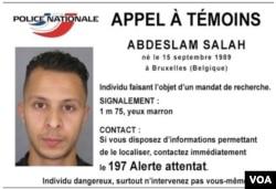 法国警方发布的照片显示巴黎袭击的头号嫌犯萨拉赫•阿布德斯拉姆