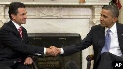 지난해 11월 워싱턴 백악관에서 회담한 바락 오바마 미국 대통령(오른쪽)과 엔리케 페냐 니에토 멕시코 대통령.