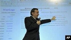 维基揭密网站创始人阿桑奇10月23日在伦敦的一次记者会上