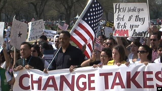 Immigration reform advocates march in Washington DC