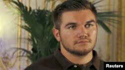 National Guardsman Alek Skarlatos at a ceremony at the U.S. Embassy in Paris, France, Aug. 23, 2015.