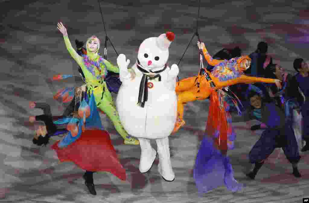 Dancers perform during the opening ceremony of the 10th Special Olympics World Winter Games in Pyeongchang, South Korea.