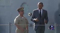 奥巴马登上菲律宾主力战舰,再次强调航行自由