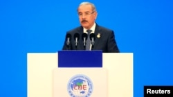 FILE - Dominican Republic President Danilo Medina speaks at the opening ceremony for the first China International Import Expo (CIIE) in Shanghai, China, Nov. 5, 2018.