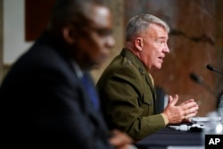 Gen. Kenneth McKenzie, commander of the United States Central Command, speaks during a Senate Armed Services Committee hearing on the conclusion of military operations in Afghanistan and plans for future counterterrorism operations, on Capitol Hill, Sept.
