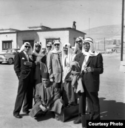 Dizzy Gillespie (first on right) and his orchestra – including Quincy Jones (third from right at back) – in Turkey, 1956. Credit: Malcolm Poindexter III / Courtesy of the Institute of Jazz Studies, Rutgers University.