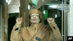 This image broadcast on Libyan state television Tuesday, Feb. 22, 2011, shows Libyan leader Moammar Gadhafi as he addresses the nation in Tripoli, Libya. Libya's Gadhafi vowed to fight on against protesters demanding his ouster and die as martyr. (AP Phot