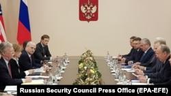 RUSSIA -- U.S. National Security Adviser John Bolton (L) Russian Security Council Secretary Nikolai Patrushev (R) meet in Moscow, October 22, 2018