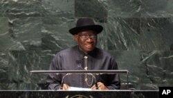 Shugaban Najeriya Goodluck Jonathan. An dauki hoton ne ranar 8 ga watan jiya, a Majalisar dinkin Duniya.