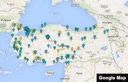 Türkiye'de dün çok sayıda HDP bürosu saldırıya uğradı (Kaynak: Google Maps)