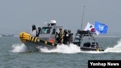 10일 한국 군과 해경, 유엔군사령부가 한강하구 중립수역에서 불법조업을 하고 있는 중국어선을 퇴거하기 위한 합동 작전에 나섰다.
