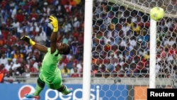 FILE - Senzo Meyiwa is seen during a match at Orlando Stadium in Soweto Nov. 2, 2013.
