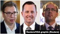 Šefovi delegacija dve strane Aleksandar Vučić i Avdulah Hoti i posrednik u razgovorima, specijalni savetnik američkog predsednika Ričard Grenel (Foto: Reuters)