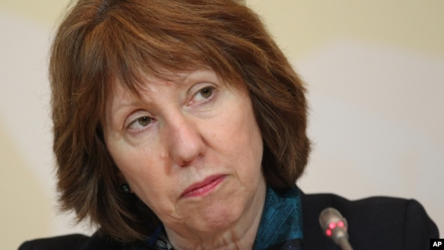 EU foreign policy chief Catherine Ashton listens to a question during her news conference after the high-level talks between world powers and Iranian officials in Almaty, Kazakhstan, April 6, 2013.
