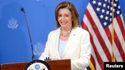 美国国会众议院议长南希·佩洛西2019年8月9日在萨尔瓦多举行的一个新闻发布会上。